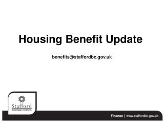 Housing Benefit Update