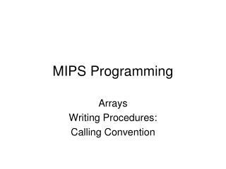 MIPS Programming