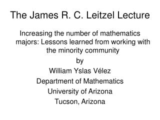 The James R. C. Leitzel Lecture