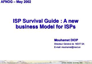 ISP Survival Guide : A new business Model for ISPs