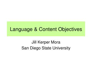 Language  & Content Objectives
