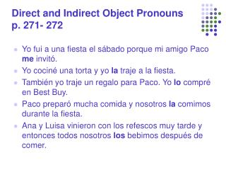 Direct and Indirect Object Pronouns p. 271- 272
