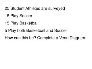 25 Student Athletes are surveyed 15 Play Soccer 15 Play Basketball