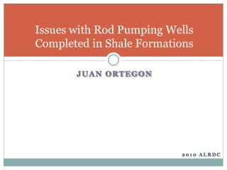 Issues with Rod Pumping Wells Completed in Shale Formations