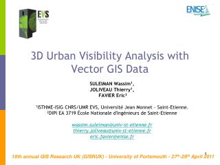 3D Urban Visibility Analysis with Vector GIS Data