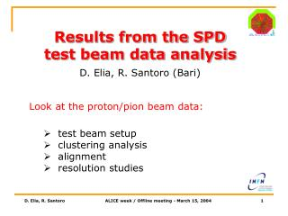 Results from the SPD test beam data analysis D. Elia, R. Santoro (Bari)