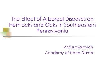 The Effect of Arboreal Diseases on Hemlocks and Oaks in Southeastern Pennsylvania