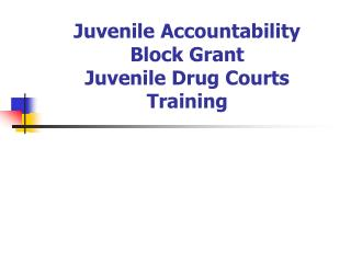 Juvenile Accountability  Block Grant  Juvenile Drug Courts Training