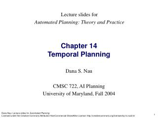 Chapter 14 Temporal Planning