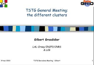 TSTG General Meeting: the different clusters
