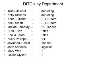 DITC's by Department