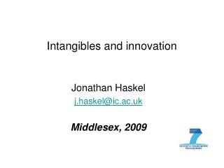 Intangibles and innovation