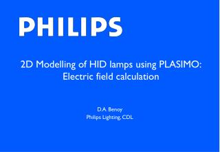 2D Modelling of HID lamps using PLASIMO: Electric field calculation