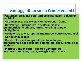 I vantaggi di un socio Confesercenti
