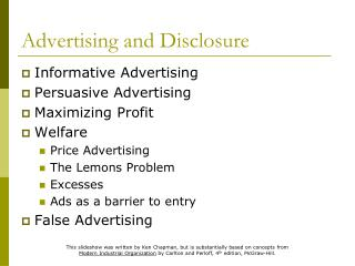 Advertising and Disclosure