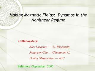 Making Magnetic Fields:  Dynamos in the Nonlinear Regime