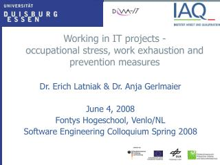 Working in IT projects - occupational stress, work exhaustion and prevention measures