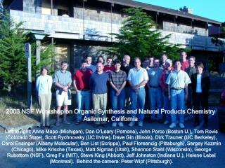 2003 NSF Workshop on Organic Synthesis and Natural Products Chemistry Asilomar, California