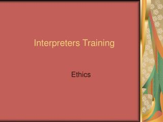 Interpreters Training