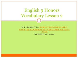 English 9 Honors Vocabulary Lesson 2