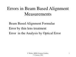 Errors in Beam Based Alignment Measurements