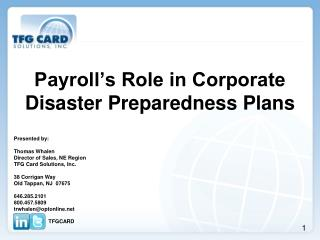 Payroll's Role in Corporate Disaster Preparedness Plans