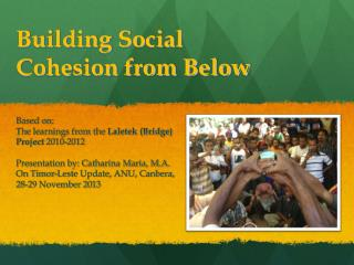 Building Social Cohesion from Below