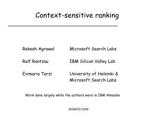 Context-sensitive ranking