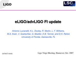 eLIGO/advLIGO FI update