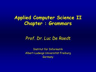 Applied Computer Science II Chapter : Grammars