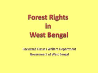 Forest Rights in  West Bengal