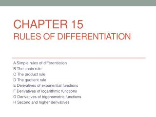 Chapter 15 Rules of Differentiation