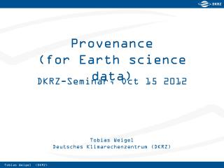 Provenance (for Earth science data)