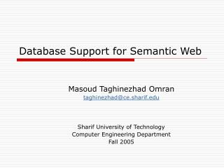 Database Support for Semantic Web