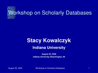 Workshop on Scholarly Databases