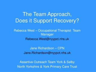 The Team Approach,  Does it Support Recovery?