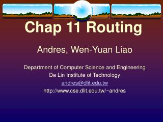 Chap 11 Routing