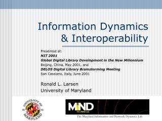 Information Dynamics  & Interoperability