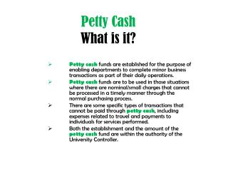 Petty Cash What is it?