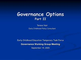 Governance Options Part II