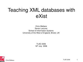 Teaching XML databases with eXist