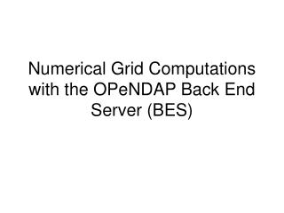 Numerical Grid Computations with the OPeNDAP Back End Server (BES)