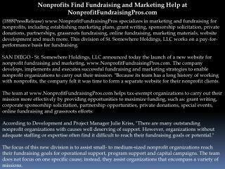 Nonprofits Find Fundraising and Marketing Help at NonprofitF