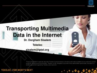 Transporting Multimedia Data in the Internet