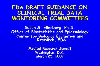 FDA DRAFT GUIDANCE ON CLINICAL TRIAL DATA MONTORING COMMITTEES