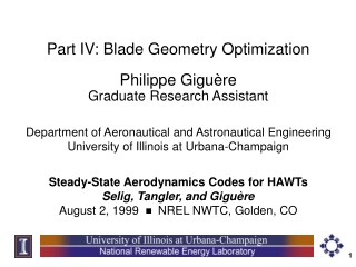 Part IV: Blade Geometry Optimization
