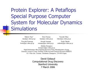 Protein Explorer: A Petaflops Special Purpose Computer System for Molecular Dynamics Simulations
