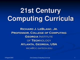 21st Century Computing Curricula