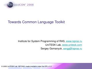 Towards Common Language Toolkit