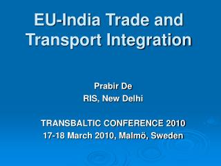 EU-India Trade and Transport Integration